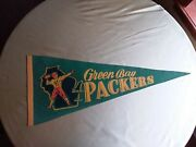 Rare 1950and039s Green Bay Packers Pennant Full Size 29 Inches Rare Colors Excellent