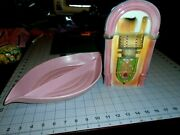 Old Style Juke Box Bank And Old Pink Color Candy Dish