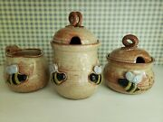 Mudworks Pottery Busy Bee Sugar, Cream And Honey Pot Set
