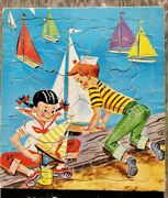 Vintage Saalfield Tray Puzzle 7002 Boy And Girl Sailing Boats On Beach Colorful