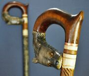 Wolf Cane Walking Stick Carved Wooden Handmade Sale