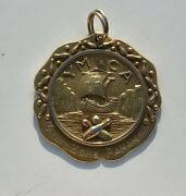 Vintage Historical Gold Ymca Canal Zone Panama Bowling Pendant Dieges And Clust