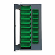 78h Gray Quickview Storage Cabinet W/18 Bins, Green 1 Ea