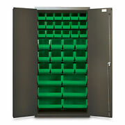 72h Gray Storage Cabinet With 36 Org Bins, Green 1 Ea