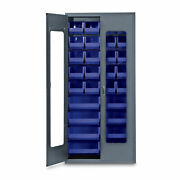 78h Gray Quickview Storage Cabinet W/28 Bins Blue 1 Ea