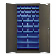 72h Gray Storage Cabinet With 36 Org Bins Blue 1 Ea