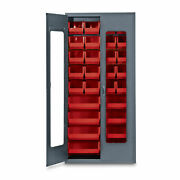 78h Gray Quickview Storage Cabinet W/28 Bins Red 1 Ea