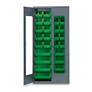 78h Gray Quickview Storage Cabinet W/28 Bins Green 1 Ea