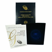 2015-w Burnished 50 American Gold Eagle 1 Oz Box Ogp And Coa No Coins