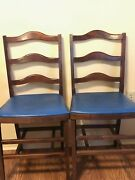 Set Of 2 Unique Antique Ladder Back Wooden Folding Chairs With Blue Seats.