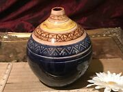 Handmade Pottery Small Mouth Vase Beautiful Decorative Desing 8x5 1/2