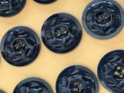 Vintage Buttons - 24 Midnight Blue 2-hole Carved 20 Mm Dimpled Casein Buttons
