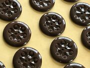 Vintage Buttons - 24 Chocolate Brown 2-hole Carved 20 Mm Dimpled Casein Buttons