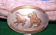 Antique Much Loved Comstock German Silver Cowboy Roping Calf Belt Buckle