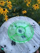 """Rare Green Depression Glass Divided Tray Advertising Give Away """"au Gourmet"""" Ny"""