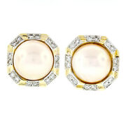Estate Large Vintage 14k Gold 16.5mm Mabe Pearl And 1.28ct Diamond Button Earrings