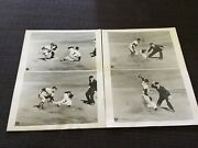Original 1957 World Series 2 Sequence Photos Mickey Mantle Stealing Yankees