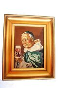 Picture Sawing Man Cave Monk Drinking Beer Wood Art Old Cross Stitch Unique