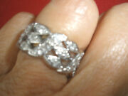 Wow Heavy Art Deco Antique Wide Diamond 2 Ct Eternity 14k White Gold Ring Band