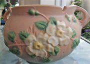 Roseville White Rose Pink And Green Jardiniere No. 653-5