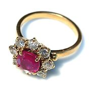 Magnificent Ring Daisy Gold 18 Gold - Ruby And Diamonds 0.80 Carat - 0.2oz
