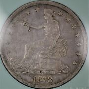 1878-s United States 90 Silver Trade Dollar Coin Au Condition A-1234