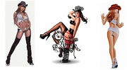 3 Cute Cowgirls Cow Western Wild West Rodeo Pinup Girl Stickers/car Decals Set