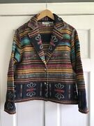 Bagatelle Striped Floral Tapestry Button Front Blazer Jacket Womens Medium