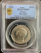 Condition French 1940-1944 - 20 Francs 1941 Bronze Of Nickel - Pcgs Sp63