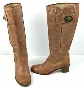 Coach Sara J06 Leather 14 Boots Size 7 B Made In Italy