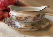 Gda Limoges Heavy Gold Edge Roses France Gravy Boat Sauce Tureen W Underplate