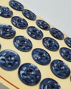 Vintage Buttons - 24 Midnight Blue 2-hole Dimpled Casein 7/8 Buttons - France