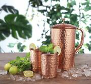 Avador Handcrafted 100 Pure Copper Jug Pitcher With 2 Glass Drinkware Hammered