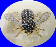 100 Vintage 14kt Gold Authentic Diamond And Sapphire Wasp/bee Pin Brooch