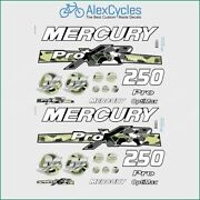250 Hp Mercury Optimax Proxs Outboadrs Motor Camo Black/green Laminated Decals