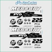 225 Hp Mercury Optimax Proxs Outboadrs Motor Black Laminated Decals Boat Kit