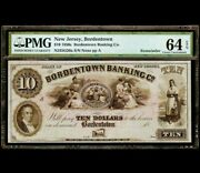 Large 1850s 10 Bordentown Bank Note New Jersey Currency Pmg 64 Epq Very Rare