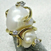Beautiful Estate Large Pearl And Diamond Ring 18k Gold Size 6.5 Make Offer