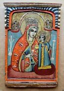Antique Christian Greek Icon 19th C Our Lady Of The Unfading Flower Ikone Icona