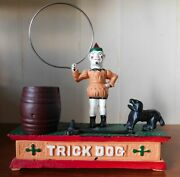 Vintage Cast Iron Trick Dog And Clown Bank Works