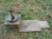 Vtg 1800s Rare Antique Primitive Ottoman Wrought Iron Wooden Coffee Grinder Mill