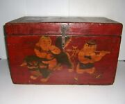 Antique Wooden Box With Hinged Lid And Hand Painted Oriental Scene On The Front