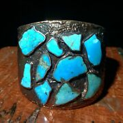 Bell Trading Post Copper Turqioise Inlay Corinthian Cuff Southwestern Signed