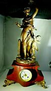Antique 1870's French Figural Mantel 8-day Clock Runs And Keeps Time 27 Tall