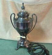1925 Manning Bowman Hammered Silverplate Electric Percolator Coffee Maker Urn