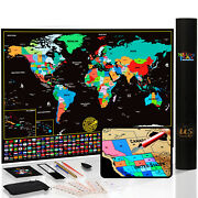 Novelty Place Scratch Off Map Of The World - Travel Tracker Map Poster Wall Art