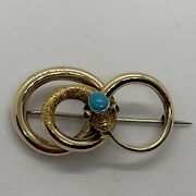 Antique Victorian 18k Gold Turquoise Ruby Snake Eternity Figure8 Knot Brooch Pin