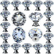 12 Pcs Clear Crystal Glass Drawer Pulls And Knobs Small 30mm
