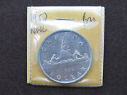 1952 1 Silver Coin Canada .800 Ag Ms 60s Nwl No Water Line One Dollar George Vi