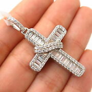 925 Sterling Silver Crystals Wrapped Design Religious Cross Pendant
